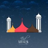 Eid Mubarak Abstarct. Nice and beautiful abstract for Eid Mubarak with nice and creative mosque illustration in a floral pattern based background royalty free illustration