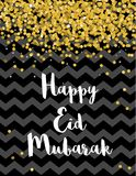 Eid Mubarak Abstract Vector Card heureux Noir et conception d'or illustration stock