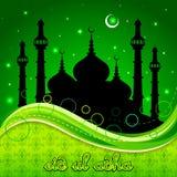 Eid Mubarak-achtergrond met Islamitische Moskee stock illustratie