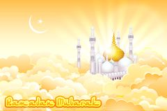 Eid Mubarak-achtergrond met Islamitische Moskee vector illustratie