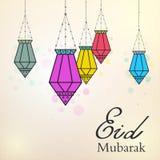 Eid Mubarak-achtergrond met kleurrijke Arabische lampen vector illustratie