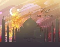 Eid Mubarak - aquarela, mesquita Fotografia de Stock Royalty Free