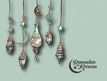 Eid Mubarak background with beautiful illuminated arabic lamp an Stock Photography