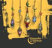 Eid Mubarak background with beautiful illuminated arabic lamp an Royalty Free Stock Images