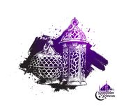 Eid Mubarak background with beautiful illuminated arabic lamp. And hand drawn calligraphy lettering. Vector illustration Stock Image