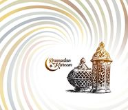 Eid Mubarak background with beautiful illuminated arabic lamp Stock Photo