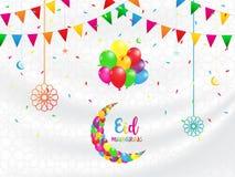 Eid Mubarak background, Festival design concept. Design for greeting cards, text, website, brochure, vector illustrations Royalty Free Stock Images