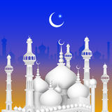 Eid Mubarak background with Islamic Mosque Stock Photos