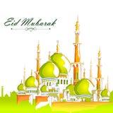 Eid Mubarak background. Vector illustration of Eid Mubarak Blessing for Eid background with Islamic mosque royalty free illustration