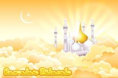 Eid Mubarak bakgrund med den islamiska moskén Arkivbilder