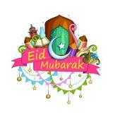 Eid Mubarak Blessing for Eid background. Vector illustration of Eid Mubarak Blessing for Eid background with Islamic style doodle vector illustration