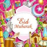 Eid Mubarak Blessing for Eid background. Vector illustration of Eid Mubarak Blessing for Eid background with Islamic style doodle stock illustration