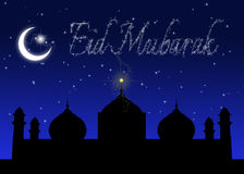 Eid Mubarak Blue Night Greeting vektor illustrationer