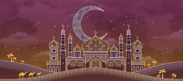 Eid mubarak calligraphy royalty free illustration