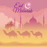 Eid Mubarak - camel and mosque on the desert at night Royalty Free Stock Photos