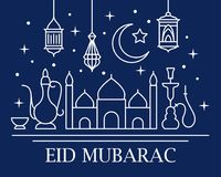 Eid Mubarak card. With traditional lamps, mosque and arabic crescent in linear style on blue background. Vector illustration royalty free illustration