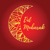 Eid Mubarak card. Greeting card of Eid Mubarak holiday. Golden moon on red background. Vector illustration stock illustration