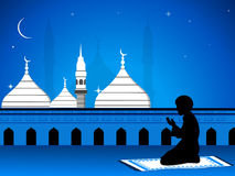 Eid mubarak card with mosque Stock Photos
