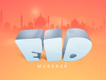 Eid Mubarak celebration with 3D stylish text. 3D glossy text Eid Mubarak on colorful mosque silhouette background for muslim community festival celebration Royalty Free Stock Image