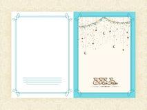 Eid Mubarak celebration greeting card with arabic text. Elegant greeting card design decorated with Arabic Islamic calligraphy of text Eid Mubarak on hanging Stock Image