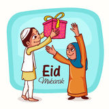 Eid Mubarak celebration with happy Islamic people. Royalty Free Stock Photo