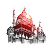 Eid Mubarak celebration- Mosque. Hand Draw Sketch Vector illustr Stock Image