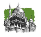 Eid Mubarak celebration- Mosque. Hand Draw Sketch Vector illustr Royalty Free Stock Image