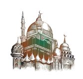 Eid Mubarak celebration- Mosque. Hand Draw Sketch Vector Stock Photo