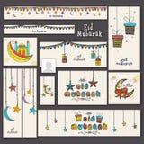 Eid Mubarak celebration social media ads or headers. Social media ads, headers, banners or post for muslim community festival, Eid Mubarak celebration Royalty Free Stock Photos