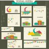 Eid Mubarak celebration social media ads or headers. Social media headers, banners, post or ads for muslim community festival, Eid Mubarak celebration Stock Photo
