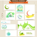 Eid Mubarak celebration social media ads or headers. Colorful social media ads, banners, headers or post with creative islamic elements for muslim community Stock Photo