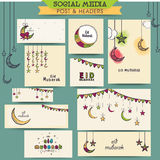 Eid Mubarak celebration social media ads or headers. Colorful floral design decorated social media ads, post, headers or banners for muslim community festival Royalty Free Stock Image