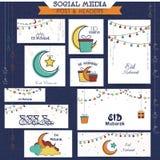 Eid Mubarak celebration social media ads or headers. Creative social media ads, headers, banners or post for muslim community festival, Eid Mubarak celebration Stock Images
