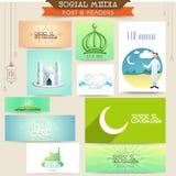 Eid Mubarak celebration social media ads or headers. Muslim community festival, Eid Mubarak celebration social media ads, headers, banners or post Stock Photo