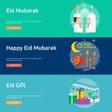 Eid Mubarak Conceptual Banner Design Photos stock