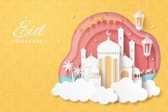 Eid Mubarak-document kunstmoskee vector illustratie