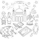 Eid Mubarak Doodle Stock Photos