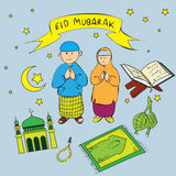 Eid Mubarak Doodle Royalty Free Stock Photography