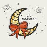 Eid Mubarak-Feier mit kreativem Mond und Band Stockfotos