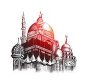 Eid Mubarak-Feier Moschee Skizzen-Vektor illustr des Handabgehobenen betrages Stockbild
