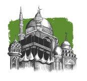 Eid Mubarak-Feier Moschee Skizzen-Vektor illustr des Handabgehobenen betrages Lizenzfreies Stockbild