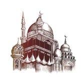 Eid Mubarak-Feier Moschee Skizzen-Vektor illustr des Handabgehobenen betrages Lizenzfreie Stockfotografie