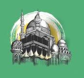 Eid Mubarak-Feier Moschee Skizzen-Vektor illustr des Handabgehobenen betrages Lizenzfreie Stockfotos