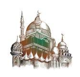 Eid Mubarak-Feier Moschee Skizzenvektor des Handabgehobenen betrages Stockfoto