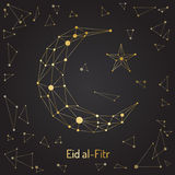 Eid mubarak festival. Beautiful abstract design element of the Islamic culture of the Crescent with the star, drawn for for muslim community festival Eid Mubarak Stock Image