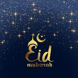Eid mubarak festival card with stars and sparkles. Illustration Stock Photography