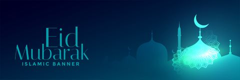 Eid mubarak festival glowing mosque banner. Vector vector illustration