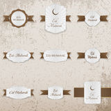 Eid Mubarak festive Badges Set. Vector Illustration Stock Photos