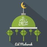 Eid Mubarak Flat Design Card Fotos de archivo