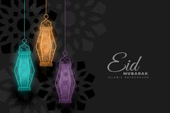 Eid mubarak glowing decorative lamps background. Vector stock illustration